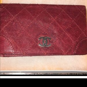 Authentic chanel red wallet